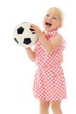 Girl with soccer ball Royalty Free Stock Photos