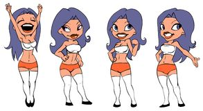 Girl - soccer fan. Cartoon illustration of sexy girl in four different poses Royalty Free Stock Photography