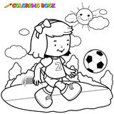 Girl soccer player coloring page Royalty Free Stock Images