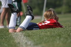 Girl Soccer Star Watches Game stock photography
