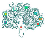 Girl with social media icons in hair Stock Photography