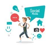 Girl social media mobile phone bubble speech camera Stock Photo