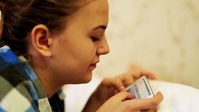 Girl in a Social Network. Young woman talking through the tablet stock video footage