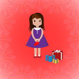 Girl with sock and gift boxes, vector illustration. Little girl with red Christmas sock stands next to gift boxes. Decorative frame with snowflakes pattern. Art Stock Photo