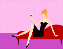 Girl on sofa stock illustration