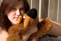 Girl with soft toy Royalty Free Stock Photos