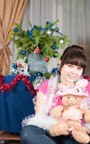 The girl with a soft toy Royalty Free Stock Photography