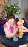The girl with a soft toy Stock Image