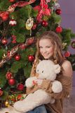 The girl with a soft toy Royalty Free Stock Images