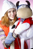 A girl with a soft toy Stock Image