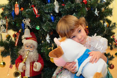 Girl with soft toy under New Year`s tree Royalty Free Stock Photography