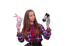 Girl with  soft toys Stock Photography