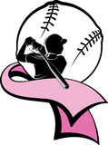 Girl Softball Batter with Pink Ribbon Royalty Free Stock Photography
