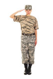 Girl - soldier in the military uniform. Young girl-soldier in the camouflage military uniform and hat greets someone Stock Images