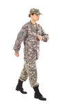 Girl - soldier in the military uniform Stock Images