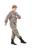 Girl - soldier in the military uniform Royalty Free Stock Images