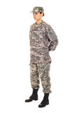 Girl - soldier in the military uniform Royalty Free Stock Image