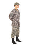 Girl - soldier in the military uniform Royalty Free Stock Photo