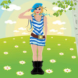 Girl soldiers salute Royalty Free Stock Images