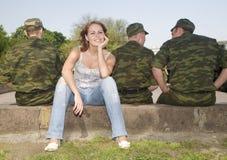 girl soldiers three Στοκ Φωτογραφία