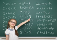 Girl solve math on school board. Girl with math numbers on school board Stock Image