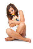 Girl with soother Stock Images