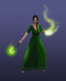 Girl sorceress conjures a spell Royalty Free Stock Images