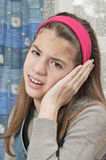 Girl with sore ear Royalty Free Stock Images