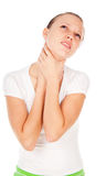 Girl sore throat Royalty Free Stock Photo