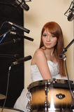 Girl in sound recording studio. Royalty Free Stock Photography