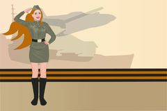 23 february background. Girl in a Soviet military uniform congratulates with the Day of Russian army 23 February Royalty Free Stock Photography