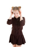 Girl in soviet school uniform Royalty Free Stock Photos