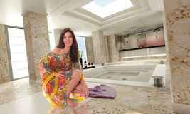 Girl on spa. Beautiful girl in a luxurious marble spa Stock Photo