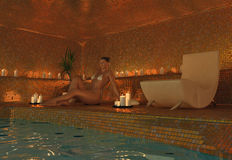 Girl in spa. Beauty girl in spa interior (3D rendering Royalty Free Stock Photos