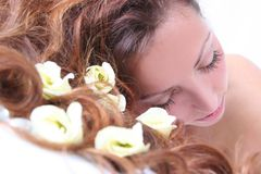 Girl in spa. Beautiful girl in spa salon Royalty Free Stock Photography