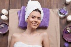Girl Spa massage sauna relaxation bath Royalty Free Stock Photo
