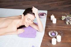 Girl Spa massage sauna relaxation bath Royalty Free Stock Photos