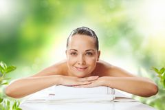 Girl at spa massage Stock Photography