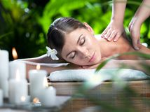 Girl in spa. Portrait of young beautiful woman in spa environment Royalty Free Stock Photo