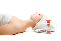 Girl at spa procedures Royalty Free Stock Image