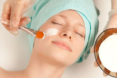 Girl at spa procedures Stock Photo