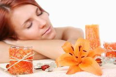 Girl in the spa salon stock photography