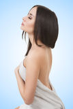 Girl in Spa salon after cosmetic procedures Stock Image