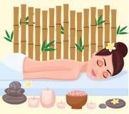 Girl on spa treatment. Vector illustration. Girl on spa treatment. Vector illustration Stock Photo