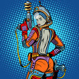 Girl space marine science fiction retro. Pop art retro style. The weapon of the future. The army and soldiers. The girl with the weapon Royalty Free Stock Photo