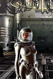 Girl in spacesuit Royalty Free Stock Images