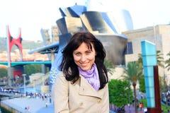 Girl in Spain. Pretty, smiling girl in Bilbao royalty free stock image