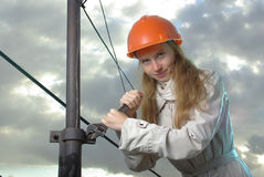 Girl in a spanner Stock Images