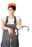 Girl with spanner asking for help Royalty Free Stock Images