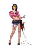 Girl with spanner Stock Photo